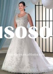 New style hot sale A-line sleeveless plus size wedding dresses(PWD10545)