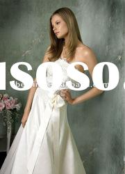 No.AV9653 Creme silk duchess satin A-line bridal gown Ivory Alencon Lace real sample wedding dress