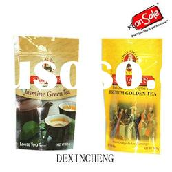 Plastic Bag-Stand up pouch with zipper for tea packaging