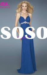 Royal Blue Halter Rhinestone Corset Prom Dress Long Chiffon Quinceanera Prom Dresses