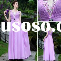Ruffle Beaded formal purple long chiffon evening western dresses EVE30356