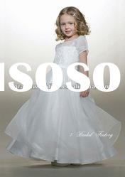 Short Sleeves White Organza Bridal Flower Girl Dresses FL-116