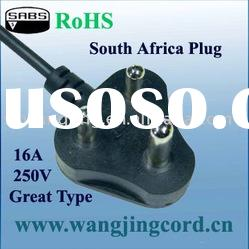 South Africa Standard ac power cord with 3 pins plug
