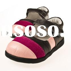Supre design girl style soft leather toddler shoes LBL-UI106BR