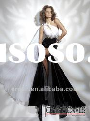 T-065 Beaded One-Shoulder Backless White And Black Mermaid Evening Dress