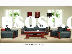 Top quality!Genuine Leather office Sofa set leather arms