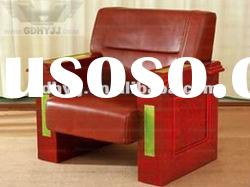 Top quality!Wooden veneer office furniture genuine leather office sofa set