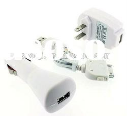 USB Cable+Car charger+ Wall Charger For Apple iPod Touch iPhone 2G 3G 3GS 4G 4S