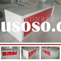 White & red acrylic solid surface reception desk,sale counter display