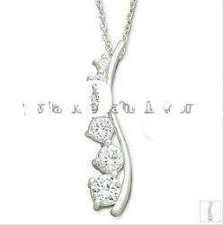 beautiful silver plated alloy pendant necklace with stone 121011