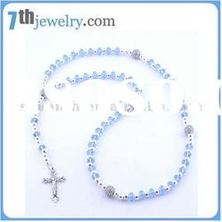 cheap rosary necklace with cross pendant and crystal balls