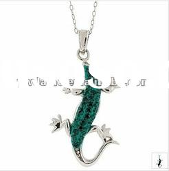 fashion gecko design silver plated alloy pendant necklace with crystal 121016