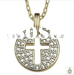 fashion gold plated copper pendant necklace with cross design 120999