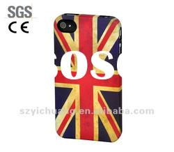 for iphone 4s housing/hard case+water transfer printing+rubbrized