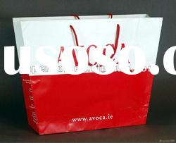glossy pantone color red and logo design large size luxury paper bag with cotton handle