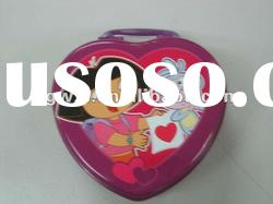 heart shaped tin case with handle for baby kids