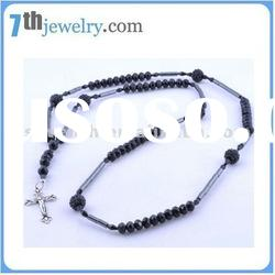 hot sale fashion designer rosary necklace with cross pendant