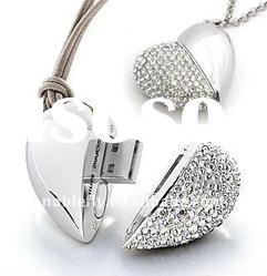 hotsale popular diamond heart shape necklace usb flash drive