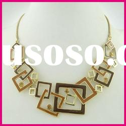 ladies' fashion square with diamond necklace alloy enamel choker necklace