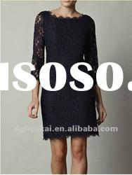 ladies new fashion 2011 zip back dress half sleeves black lace dress HK-D061415