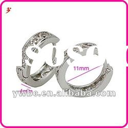 micro new fashion white gold plated hoop earrings (E630627)
