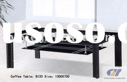 modern design glass and metal coffee table