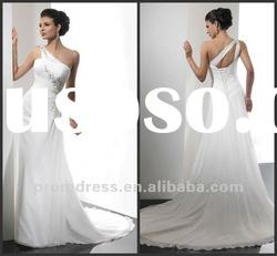 one shoulder chiffon bridal gown wedding dress wedding wear WD-853