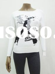 pullover sweater with fashion prints for women