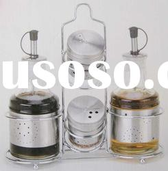 round clear glass spice jar set with metal rack