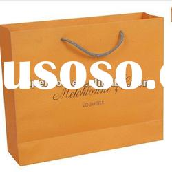 solid orange color with logo luxury paper bag with cotton handle