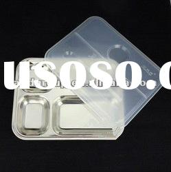 stainless steel fast food plate with cover/five Compartments Food mess tray/Mess Tray