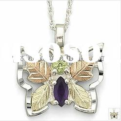 unique butterfly design silver & gold plated alloy pendant necklace with stone 121021