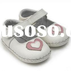 white with pink heart genuine leather soft soled baby shoes for Christmas LBL-BB11003WH