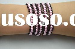 women fashion wholesale pearl leather wrap bracelet