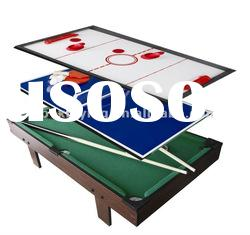wooden 3 in 1 table game including pool table,air hockey ,tennis