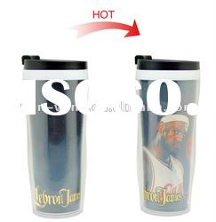 16 oz plastic double wall travel mug drinking cup