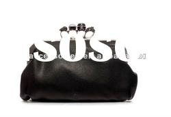 2012 Fashion disigner crazy hot black Punk skull gem finger clutch bag/handbag for women