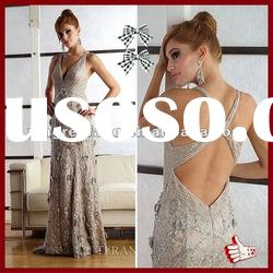 2012 High Quality Applique And Lace V Neck Off-Shoulder Mother Of The Bride Lace Dresses Long Brown