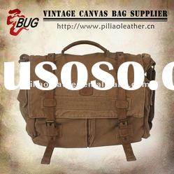 2012 Vintage Fashion Khaki Cotton Canvas Messenger Bag For Men/Women/Teens