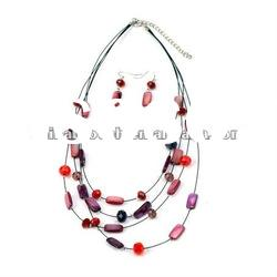 2012 charm opal necklace design &hot sale shell necklace and earring set jewelry