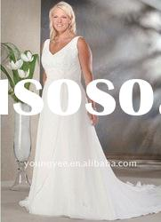 2012 hot sale V-neckline floor-length plus size wedding dress (PWD10544)