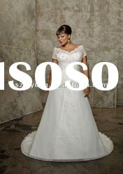 2012 latest short sleeve crystal beaded lace plus size wedding dress
