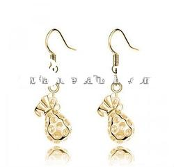 2012 new design gold plated crystal lucky bag dangle earrings