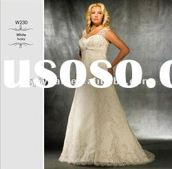 2012 new style crystal bead lace plus size wedding dress