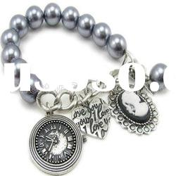 2012 spring new fashion trends designer cameo pearl metal chain bracelets