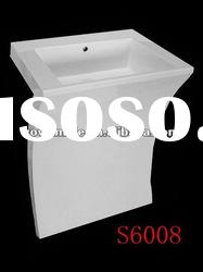 600mm wide Pedestal Basin, Acrylic Solid Surface Pedestals
