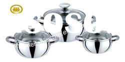 6Pcs s/s handle & stainless steel cookware set