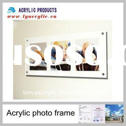 Absolutely clear wall mount acrylic panel photo frames with srews
