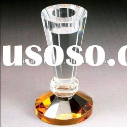 Amber Base Crystal Candlestick for Home Decoration