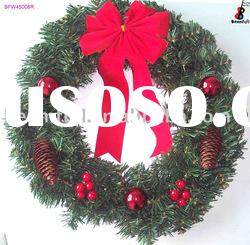 Artificial Christmas Wreath With Red Bow Christmas Decorations